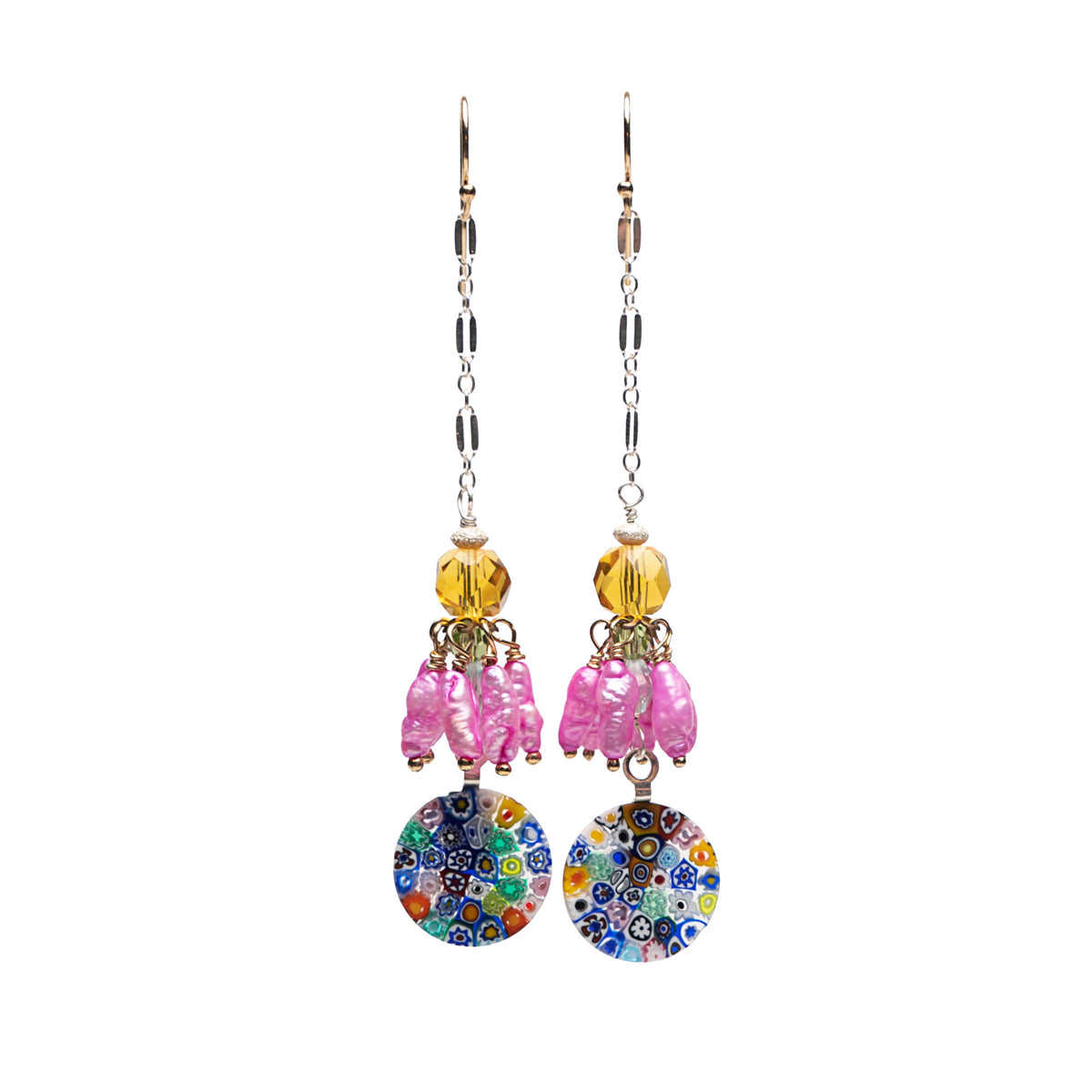 Wanderlust Murano Millefiori glass chandelier earring with pearls (Murano)
