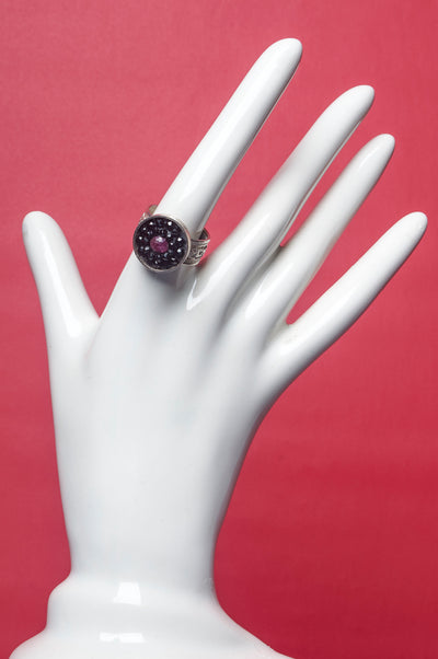 Arzouman black sapphire and ruby adjustable ring