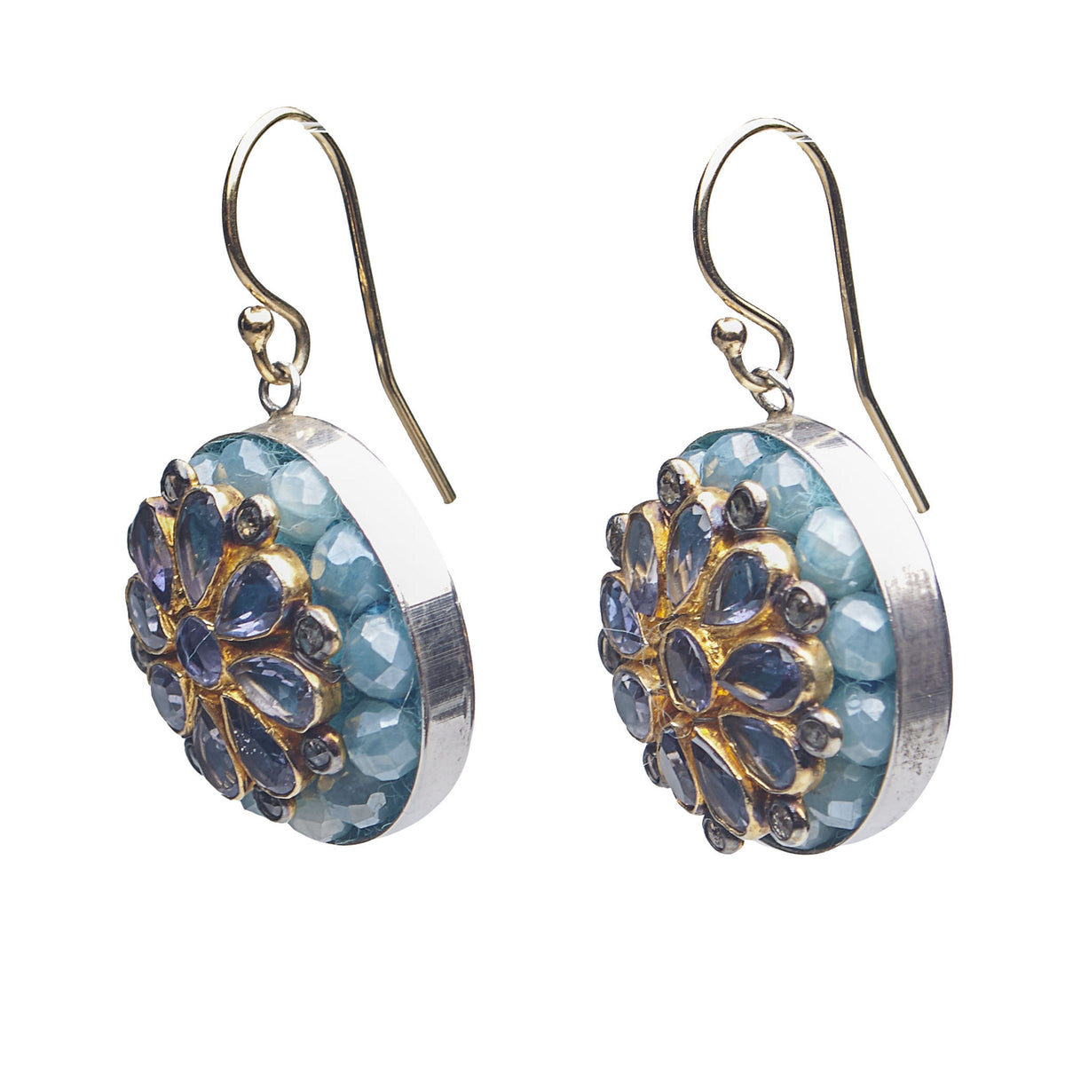 Iolite, Diamond, and Aquamarine Byzantium Earring