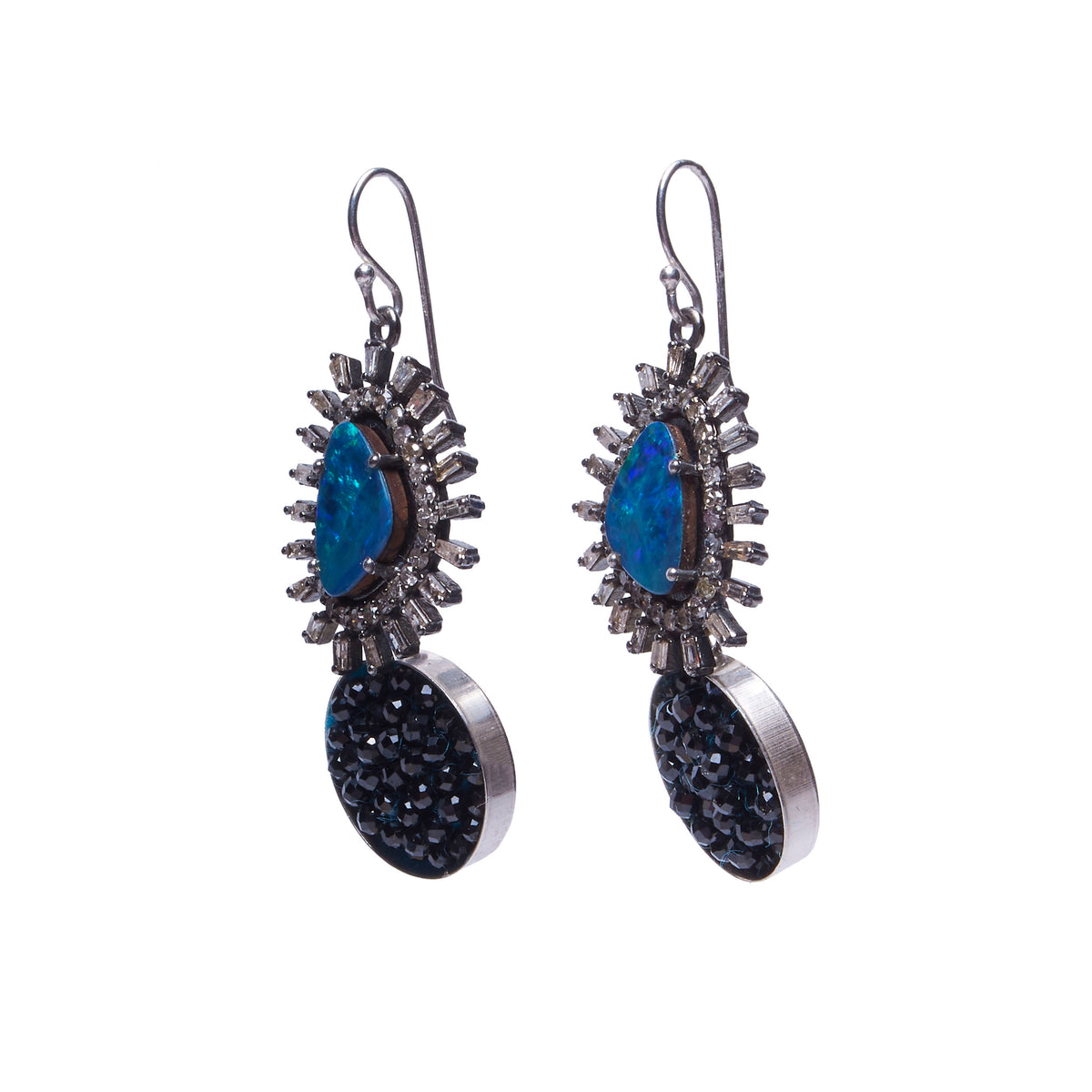 Boulder Opal, Diamonds, and Black Sapphire Mosaic Earrings