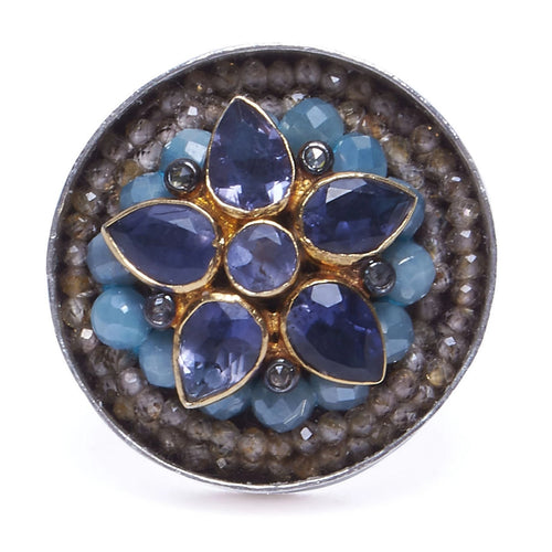 Iolite, Aquamarine and Diamond Mosaic Ring