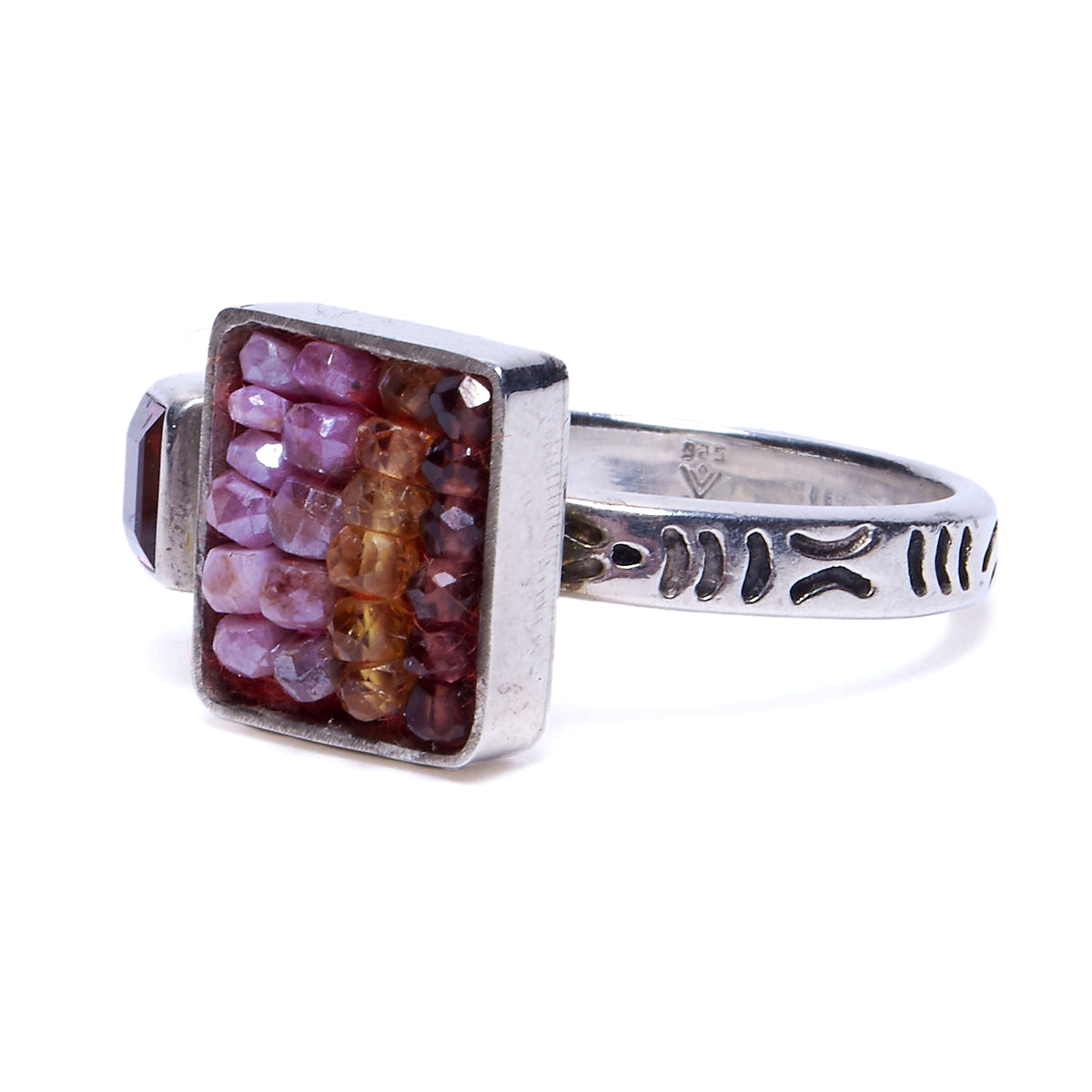 Raspberry and Pumpkin Garnet, with Pink Sapphire Mosaic Ring