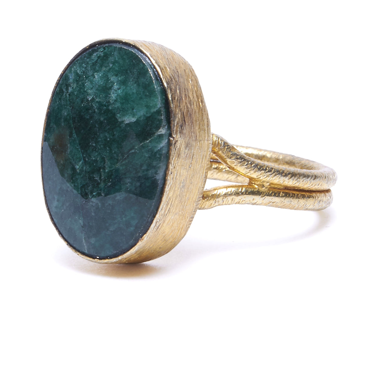 Faceted Emerald in Gold Ring
