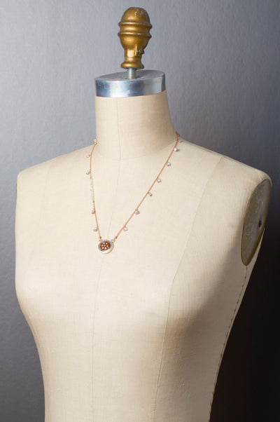 Sapphire and Diamond Mosaic Necklace on Rose Gold
