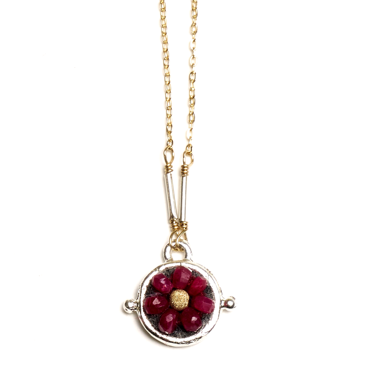 Iconic Ruby Mosaic Necklace, 10mm