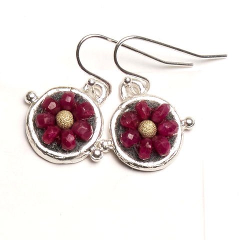 Iconic Ruby and Gold 10mm Mosaic Earrings