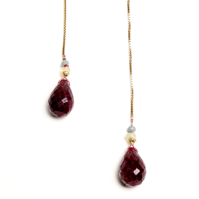 Iconic Ruby Drops with Gold, Opal and Tourmaline Box Chain Necklace, 30""