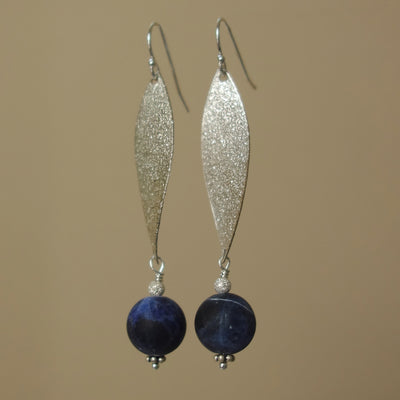 A Calming Wave: silver and sodalite earring