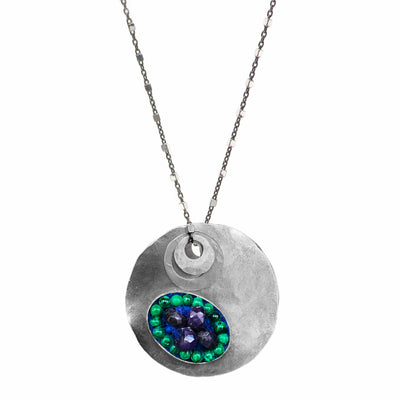 Hand Hammered Silver, sapphire, and malachite necklace