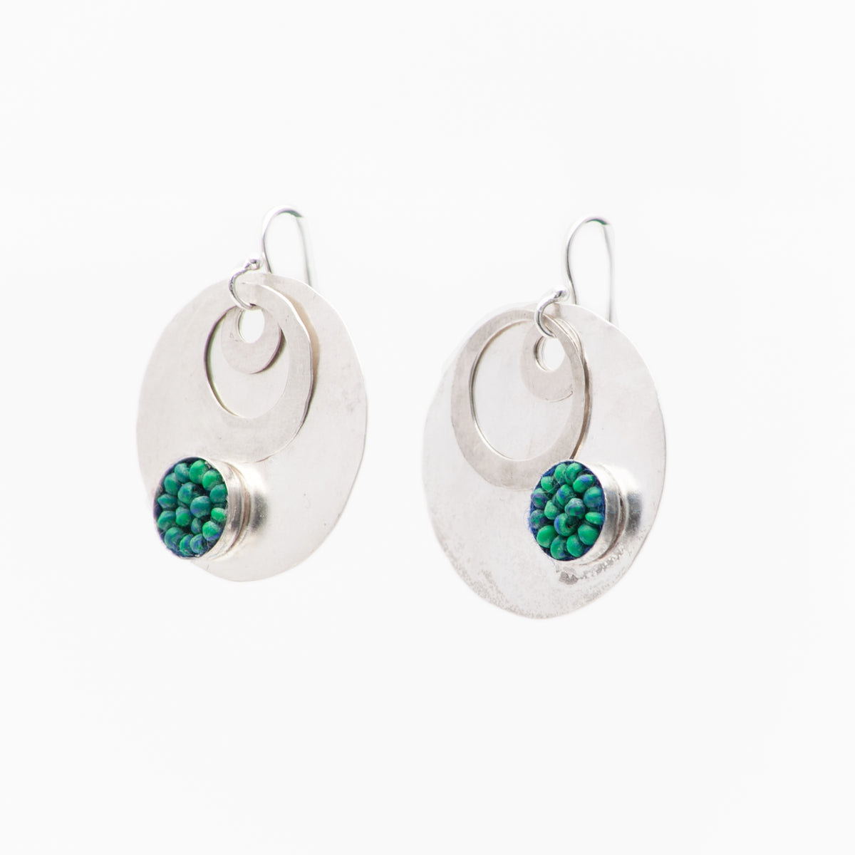 Iconic Hand Hammered Silver Coin with Azurite Mosaic Earrings