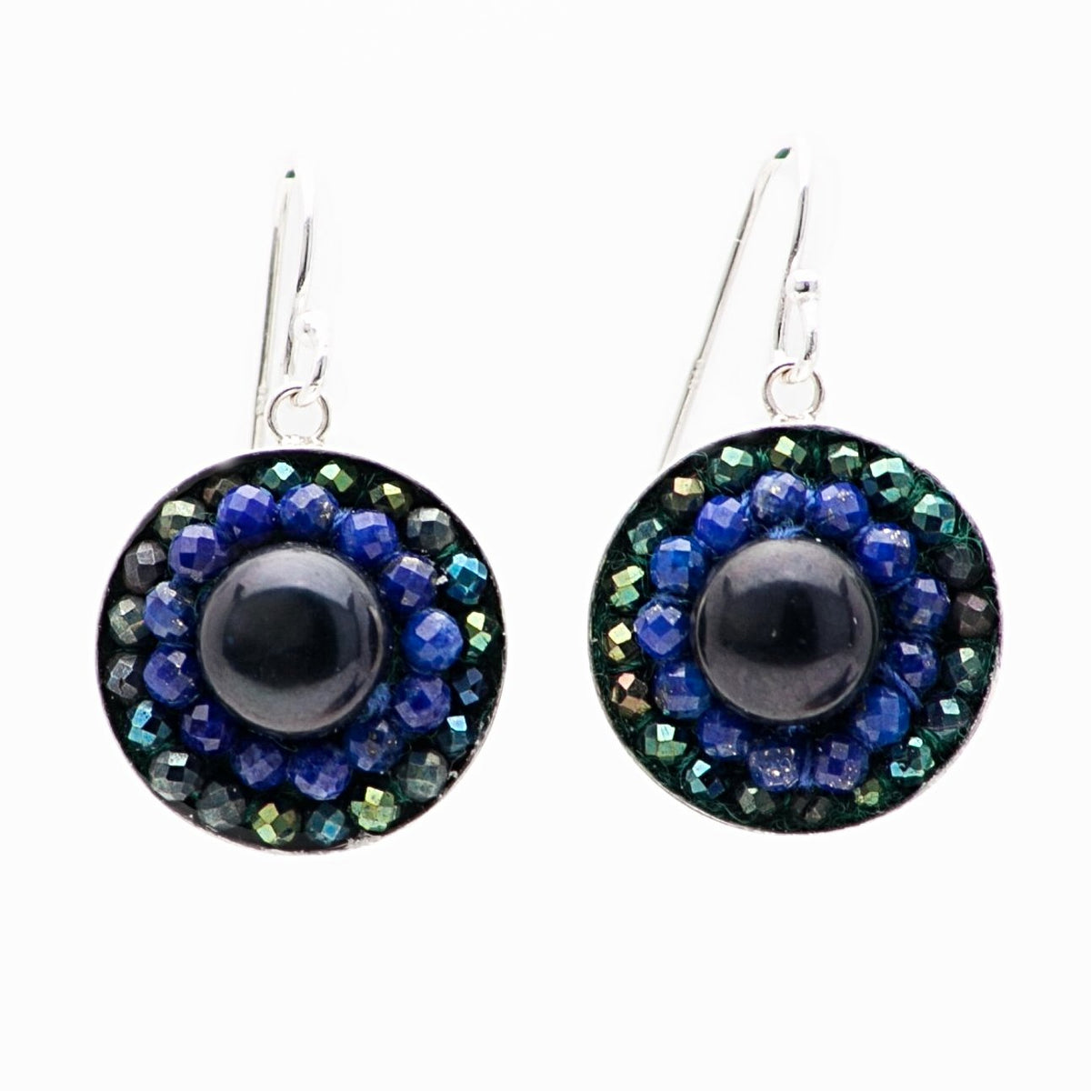 Iconic Pearl, Lapis Lazuli, and Pyrite Mosaic Earrings
