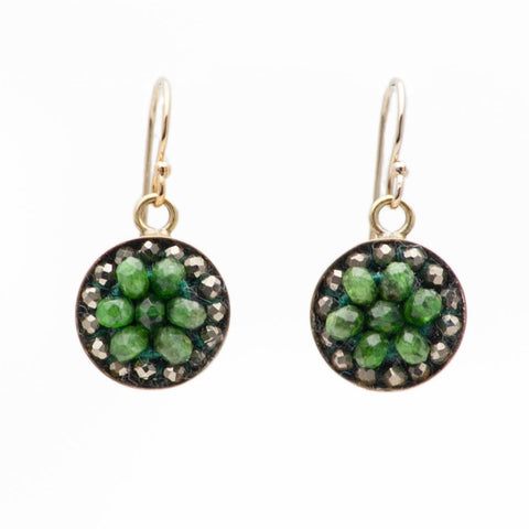Iconic Chrome Diopsite and Pyrite Mosaic Earrings in Gold