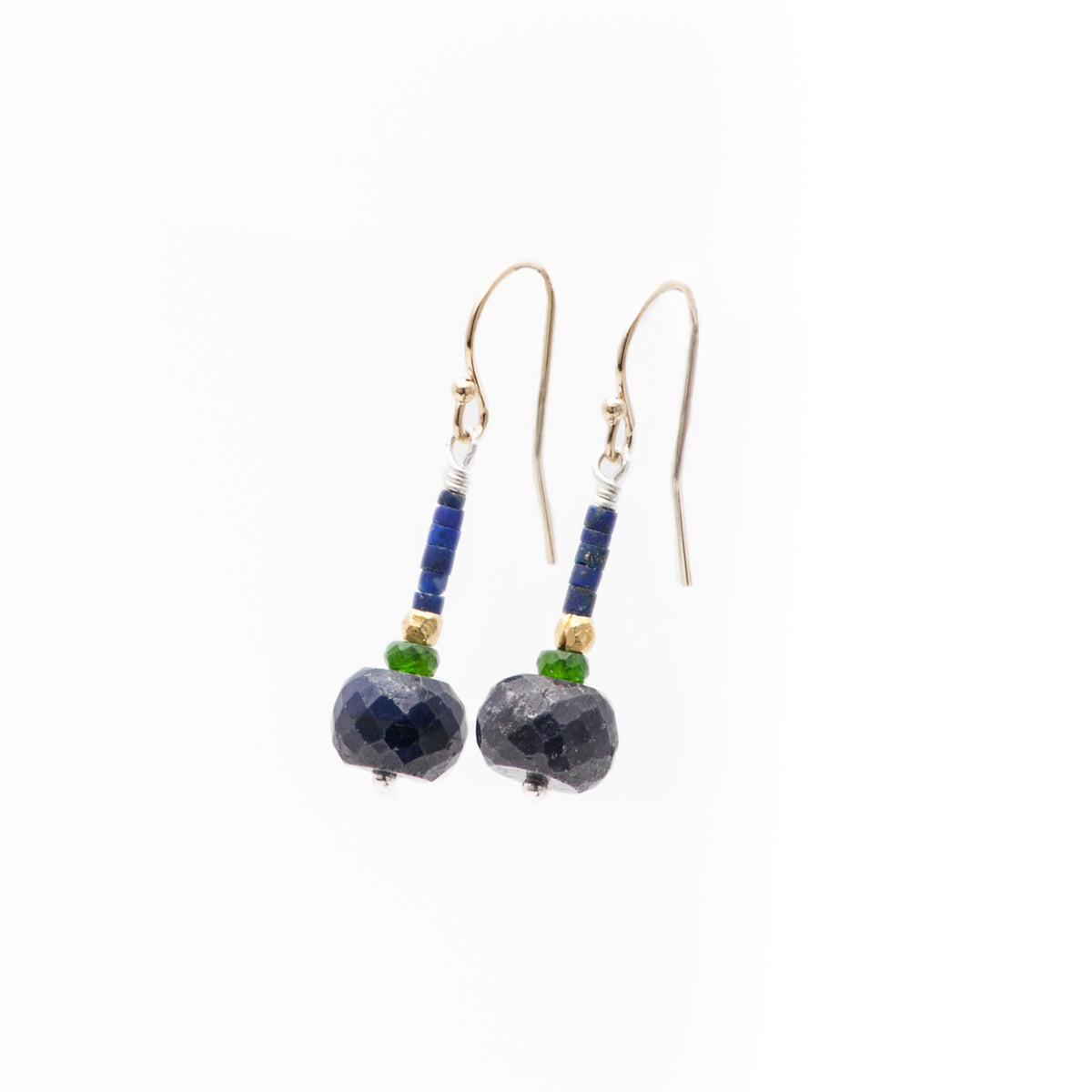 Iconic Earrings of Faceted Blue Sapphire, Chrome Diposite, Matte Lapis, and Gold