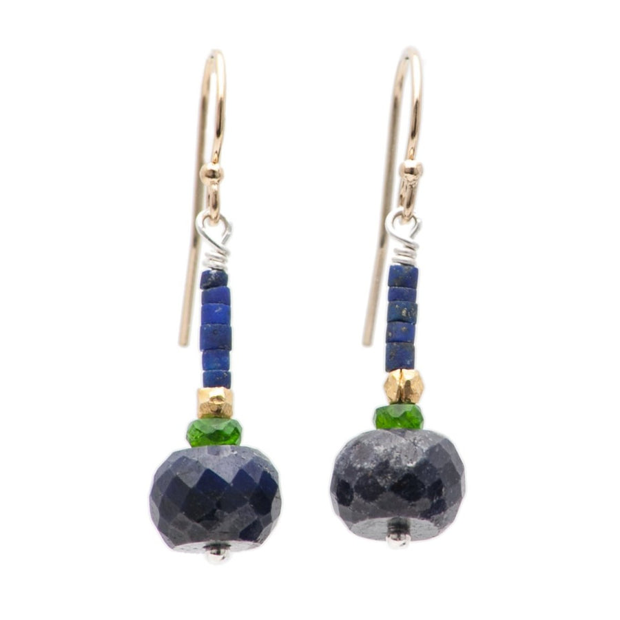 64400144d Iconic Earrings of Faceted Blue Sapphire, Chrome Diposite, Matte Lapis, and  Gold