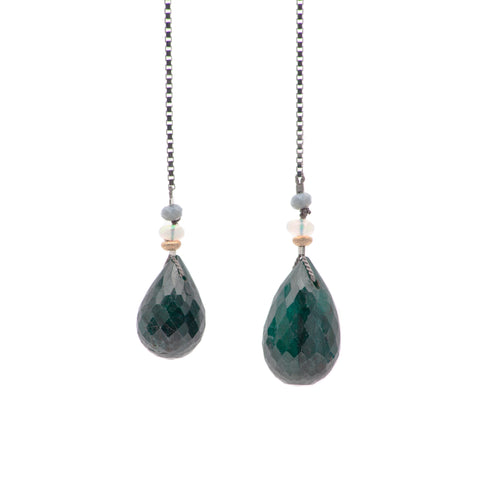 Iconic Open Necklace of Faceted Emerald Drops on Silver Box Chain with Opal, Gold, and Apatite
