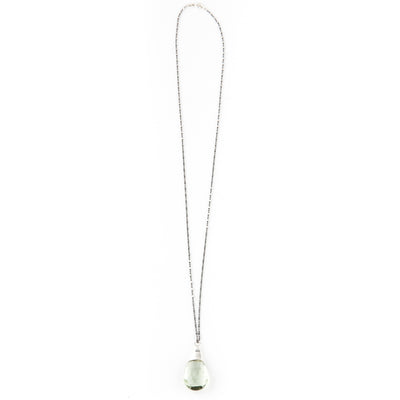 Iconic Faceted Presiolite Teardrop with Sterling Drop on Oxidized Silver Chain Necklace