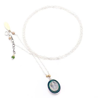 Iconic Faceted Rhudalated Quartz and Green Onyx Oval Mosaic on Sterling Silver Chain Necklace with Gold Detail