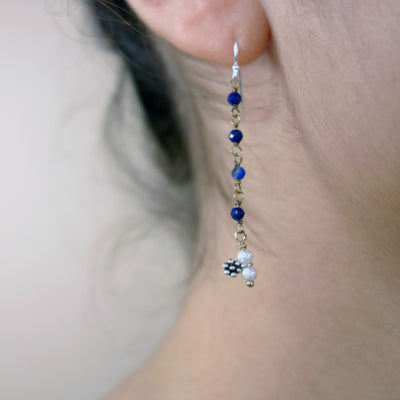 Blue Sapphire, silver and gold earrings
