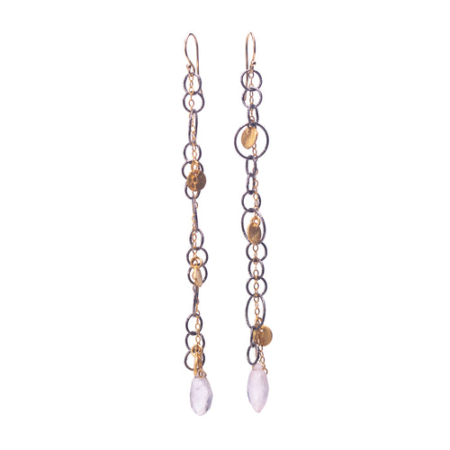 Fire & Ice Rose Quartz Earrings (Ice)