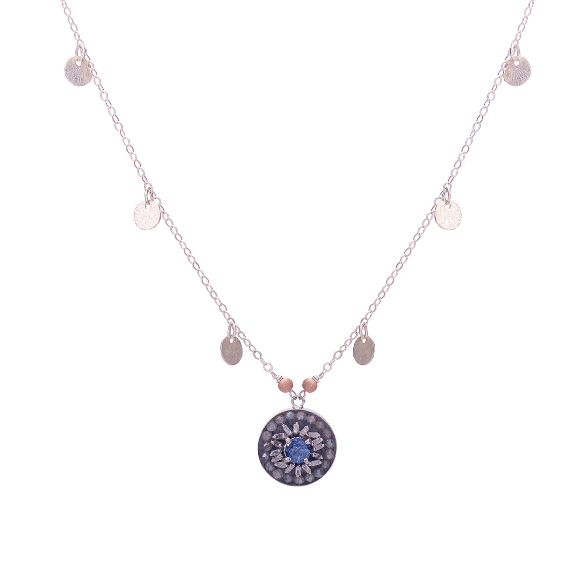 Fire & Ice Diamond Mosaic Necklace, 15mm (Ice)