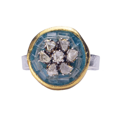 Fire & Ice Diamond Mosaic Ring, 17mm (Ice)