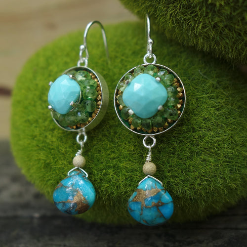 Sunrise on the Beach: turquoise and peridot mosaic earrings