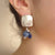 Silver, Sapphire, and African Pietersite earrings