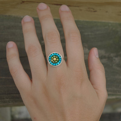 Deb's Serene Dream: gold, peridot, and turquoise mosaic ring