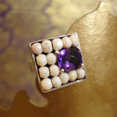 Glorious amethyst and faceted magnesite ring