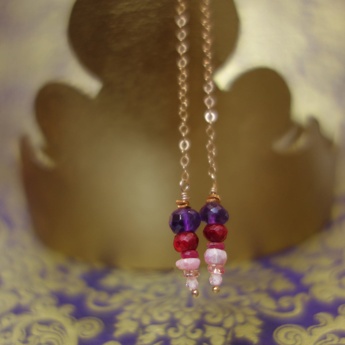 Happy Stack earring: amethyst, ruby, and sapphire on rose gold