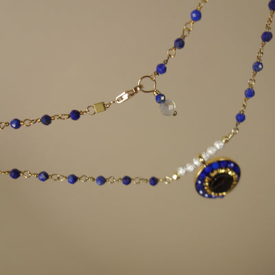 You're the One for Me: sapphire, topaz, and gold necklace