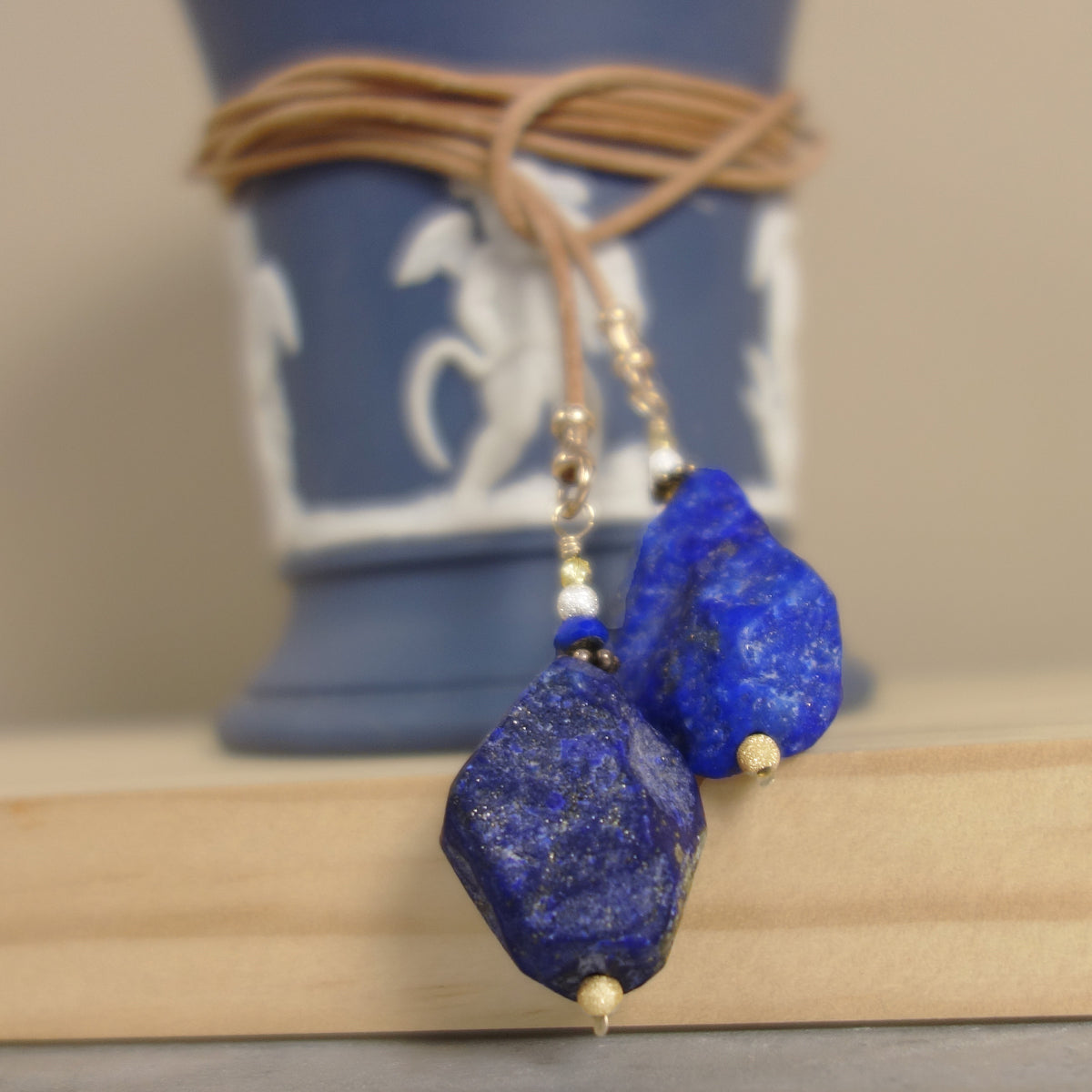 You make me feel like a natural woman: raw lapis and gold lariat