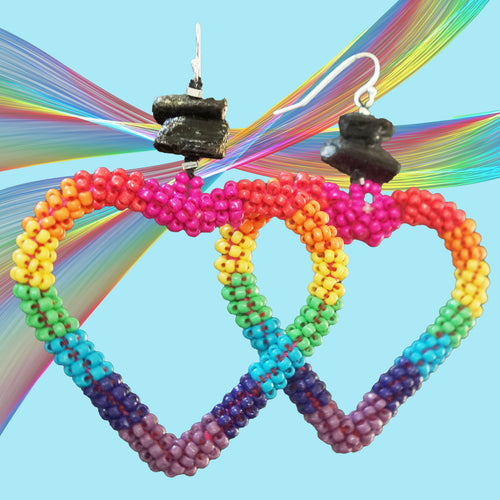 I ❤️ Rainbows tourmaline and seed bead earring
