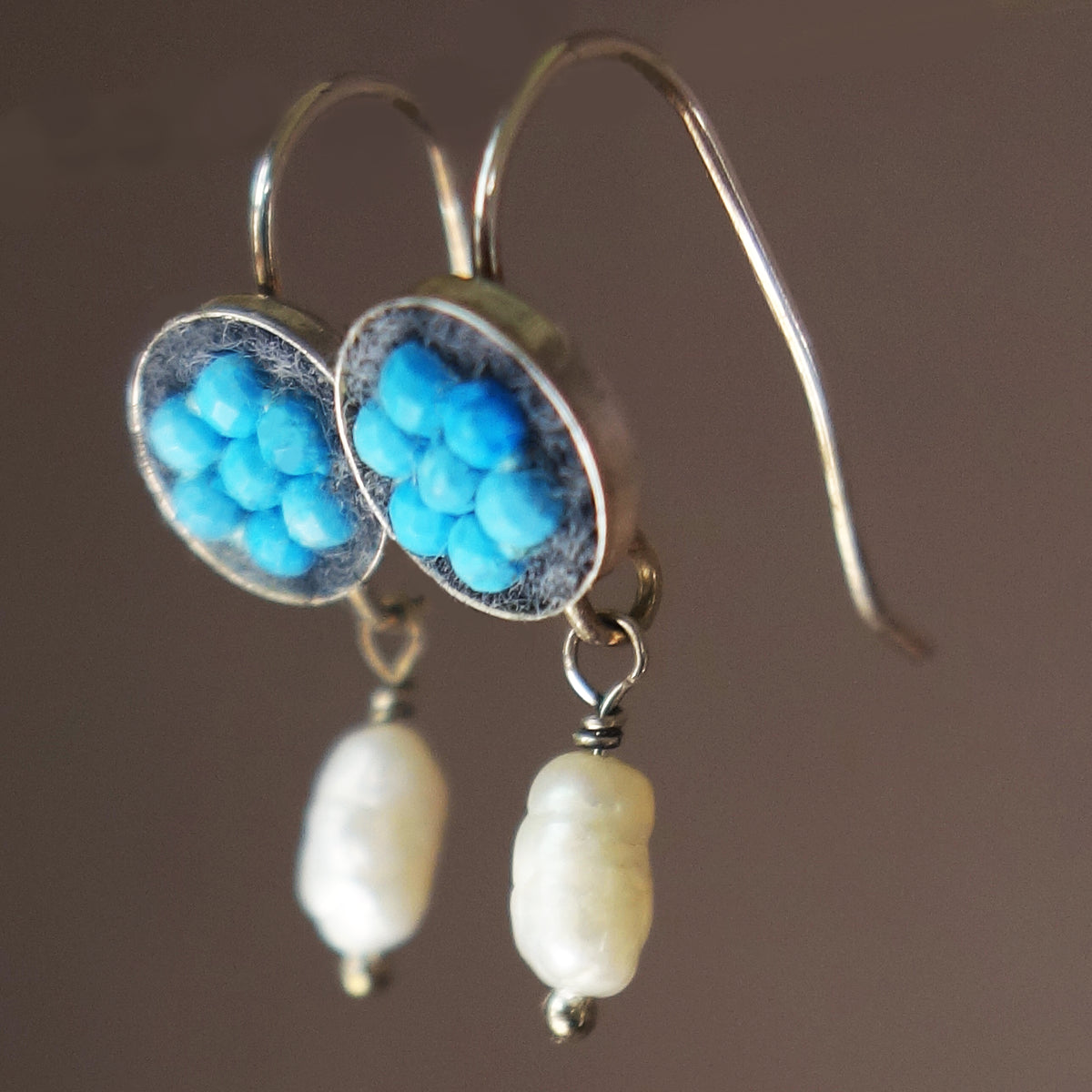Turquoise and pearl mosaic earrings