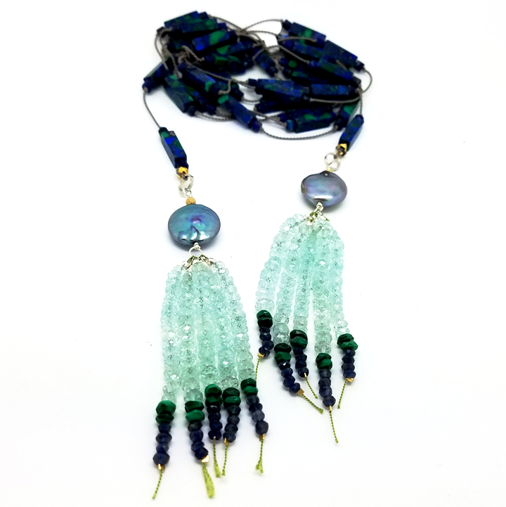 "Arzouman Luxe Azurite and Lapis Lariat Knotted on 62"" Silk Lariat"