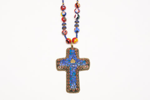 Arzouman Luxe Lapis Lazuli and Coral Cross Necklace
