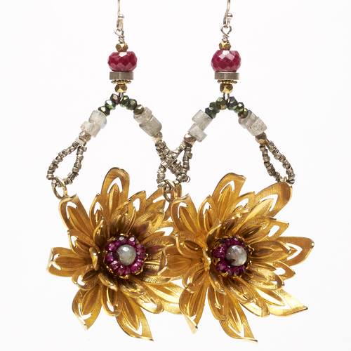 Vintage Flower Labradorite, Ruby, and Garnet Mosaic Earrings