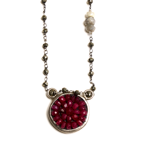 Arzouman™ Ruby Mosaic Necklace on Chalcedony Drop Chain, 20""