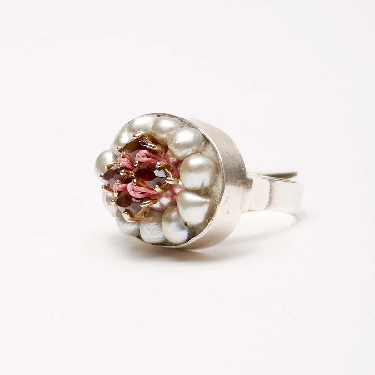 Sophia Forero Designs Arzouman Luxe Sterling Silver Ring with Faceted Tourmaline in Gold and Freshwater Pearls