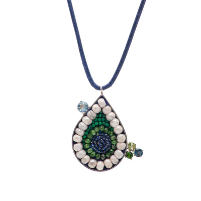 Arzouman Luxe Teardrop Necklace of Blue Sapphire, Chrome Diopsite, Malachite, and White Sapphire