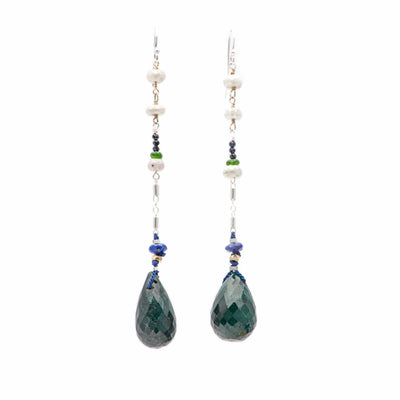 Arzouman Luxe Drop Earrings of Emerald, White Sapphire, Lapis, and Chrome Diopsite