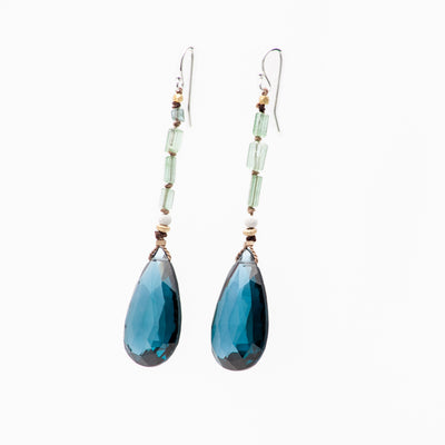 Arzouman Luxe Drop Earrings of Faceted London Blue Topaz with Gold, Silver, and Tourmaline Knotted on Silk