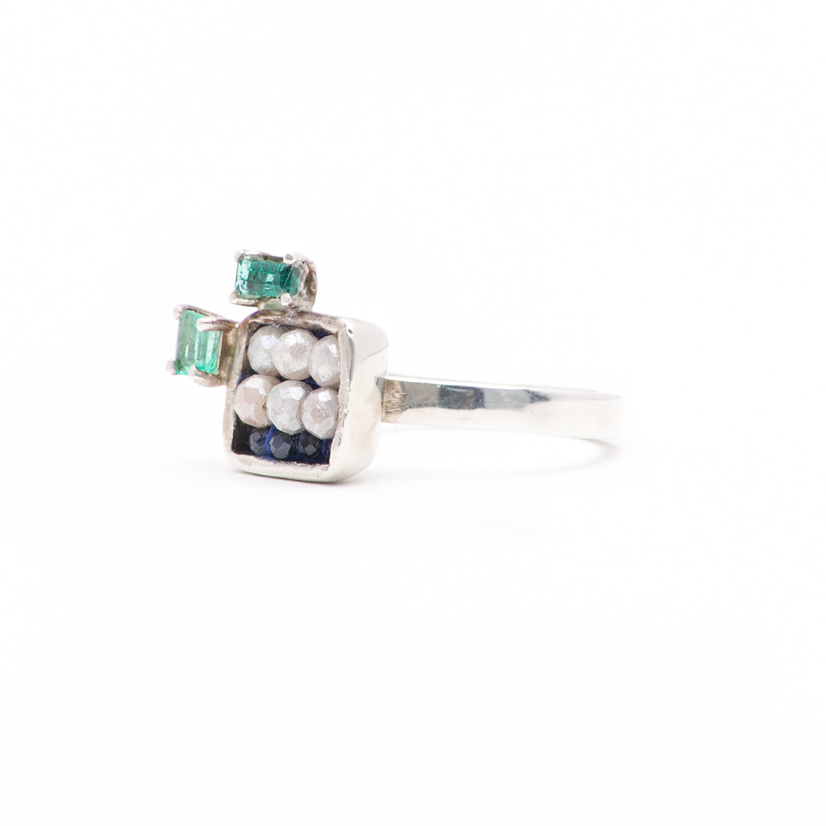 Arzouman Luxe Faceted Silverite and Blue Sapphire Square Mosaic Ring in Silver