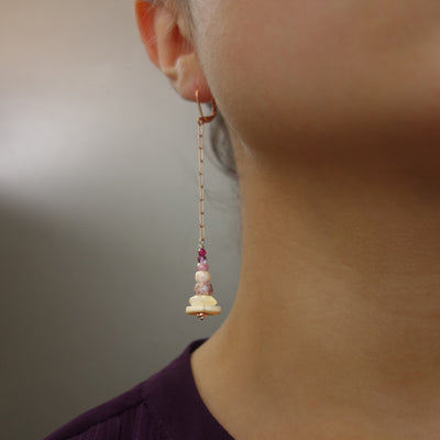 Sense and Sensibility pink sapphire, ruby, and amethyst with rose gold ear