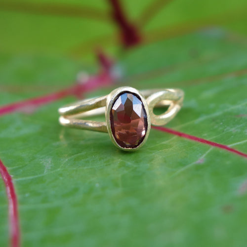 Faceted Garnet in Adjustable Ring