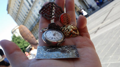 Wanderlust Bourdeaux Vintage Watch 2 sided Mosaic Necklace