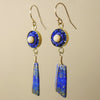 Ancient Whispers lapis, gold, and sapphire mosaic earring