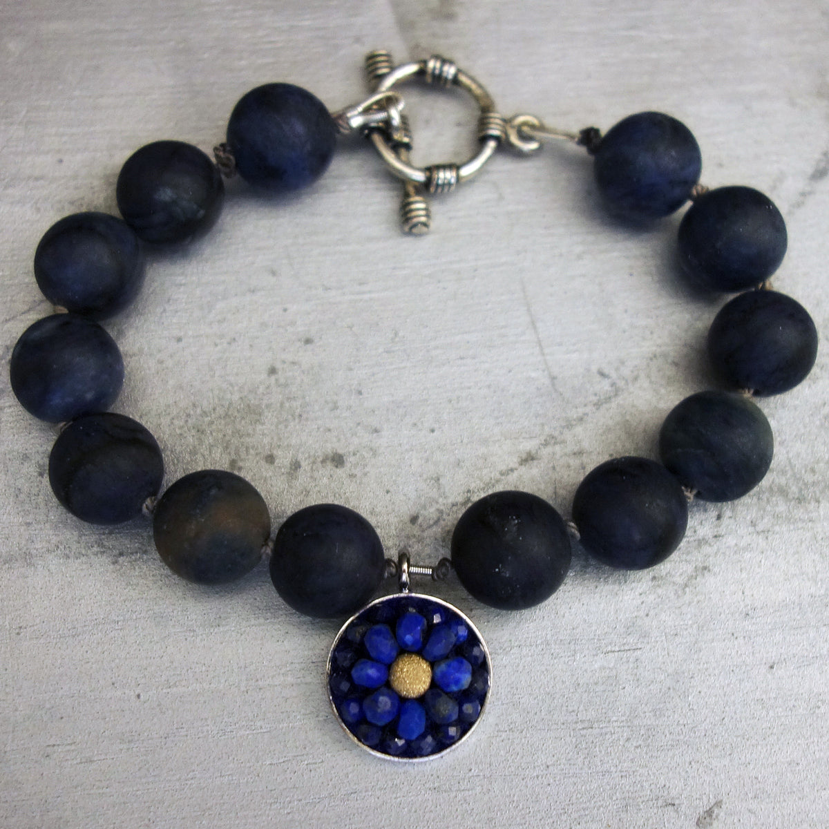 African Blue Dumortierite and Lapis mosaic bracelet