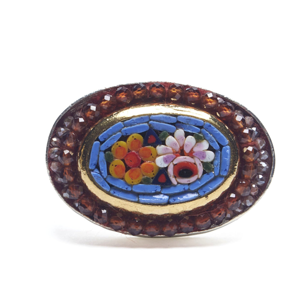 Wanderlust micro mosaic with faceted carnelian and sapphire ring (Ravenna)