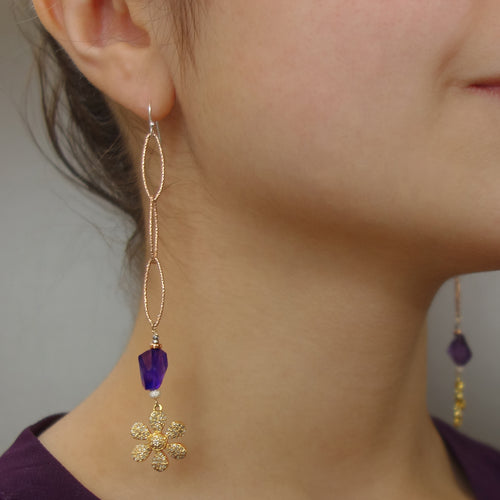 Diamond, gold, and amethyst earrings